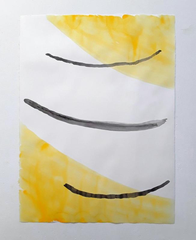Ulrich Wellmann, <em>Das Lachen der Malerei</em>, 2020, Papier, Wasserfarbe, 72,2  x 57,3  cm