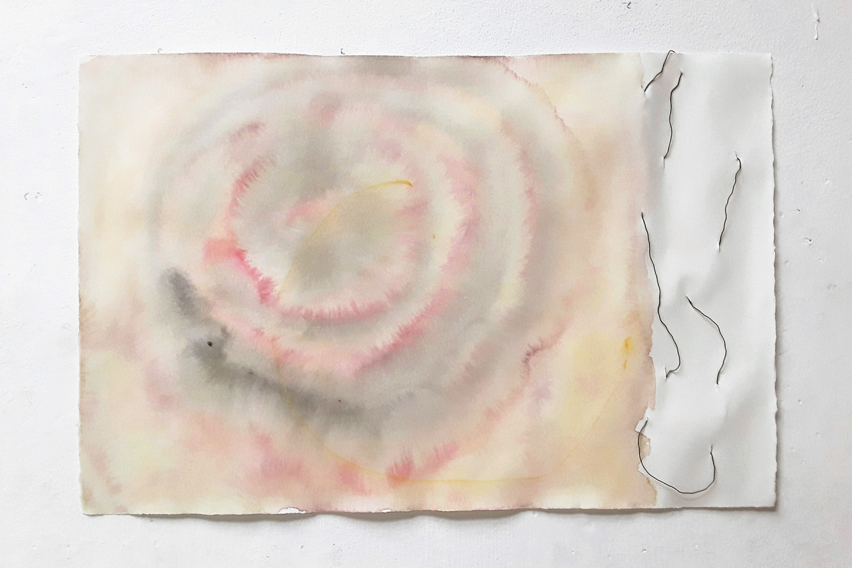 Ulrich Wellmann, 2019, Draht, Wasserfarbe, Papier, 37,4 x 56,9 cm